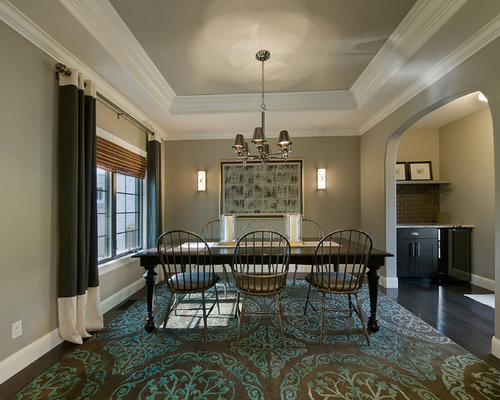 Example of a classic enclosed dining room design in Denver with gray walls  and dark hardwoodTray Ceiling Crown Molding   Houzz. Living Room Crown Molding. Home Design Ideas