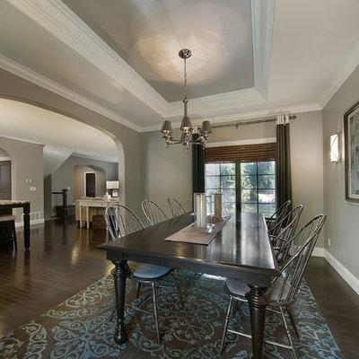 Dining room - traditional dark wood floor dining room idea in Denver with gray walls