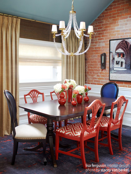 Eclectic Dining Room by Lisa Ferguson Interior Design