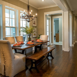Dining room - mid-sized country dark wood floor dining room idea in Miami with brown walls and no fireplace