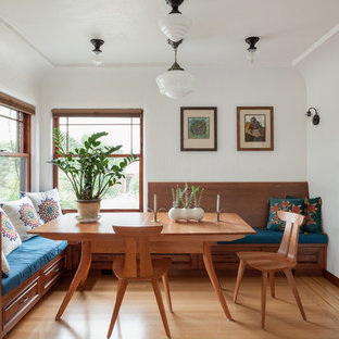 Kitchen Dining Room Combo Traditional Medium Tone Wood Floor And Brown
