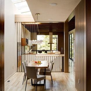 Dining Room Midcentury Modern Light Wood Floor And Beige Idea In Seattle