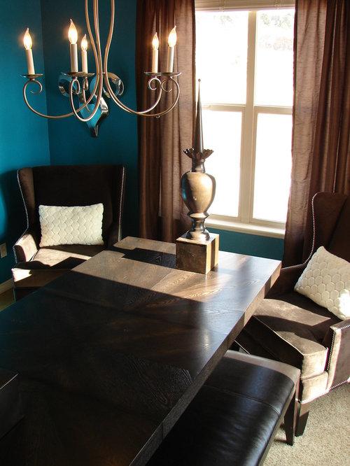 Peacock blue home design ideas renovations photos for Peacock dining room ideas