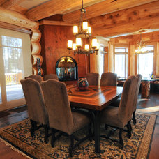 Traditional Dining Room by Mountain Log Homes of CO, Inc.