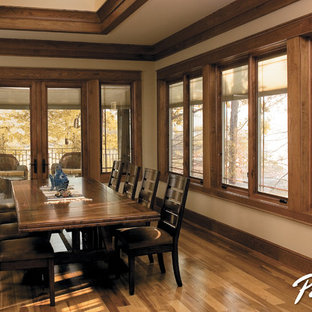 Pella® Designer Series® casement windows with between-the-glass blinds