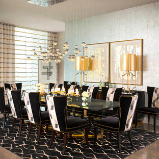 Inspiration for a contemporary dining room remodel in Dallas with metallic walls