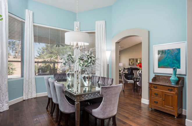 Transitional Dining Room by Center Stage Interiors