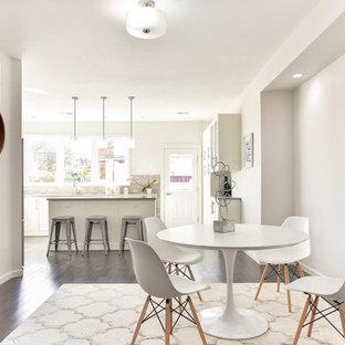 Неиссякаемый источник вдохновения для домашнего уюта: столовая в современном стиле с зеленым полом