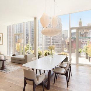 Idee per una sala da pranzo aperta verso il soggiorno minimalista di medie dimensioni con pareti bianche, parquet chiaro e camino lineare Ribbon