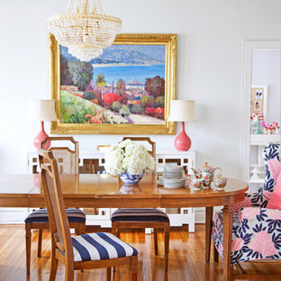 Example of an eclectic medium tone wood floor dining room design in Philadelphia with white walls