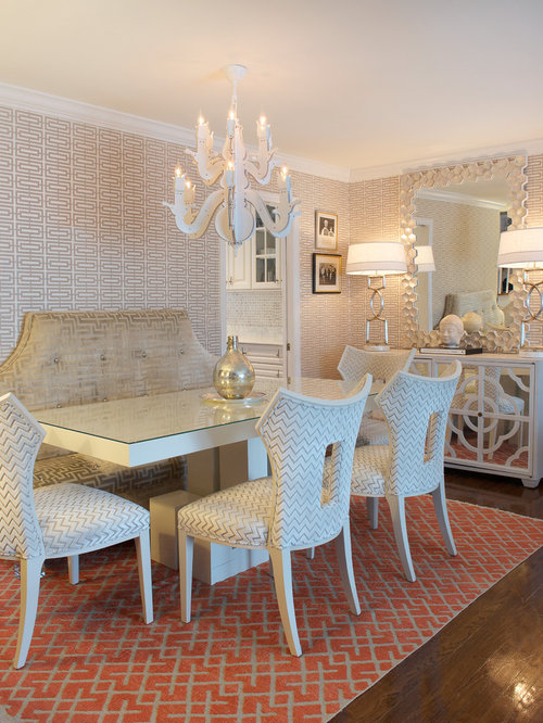 Example Of A Mid Sized Transitional Enclosed Dining Room Design In New York With Beige