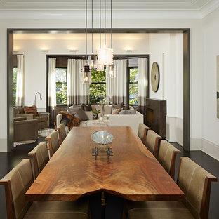 Esempio di una sala da pranzo contemporanea con pareti bianche