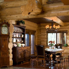 Rustic Dining Room by Summit Log & Timber Homes