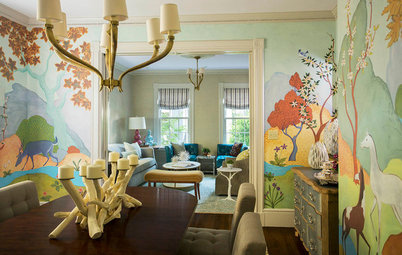 Room of the Day: Original Mural Brings Joy to a Formal Dining Room