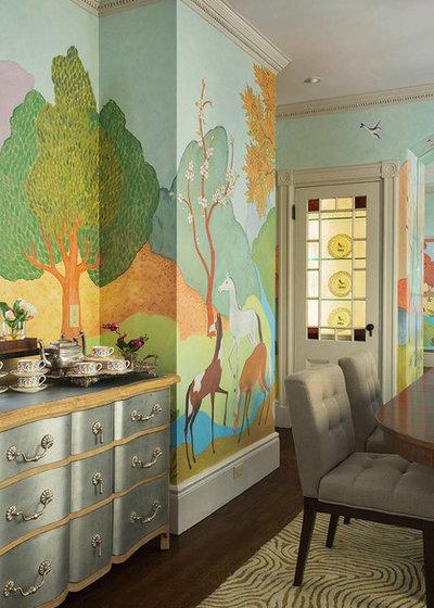 Transitional Dining Room by Heidi Pribell Interiors