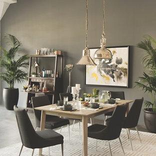 Idee per una sala da pranzo minimalista chiusa e di medie dimensioni con pareti grigie, pavimento in cemento e nessun camino