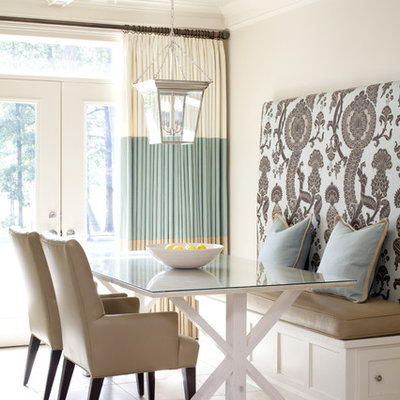 Mid-sized transitional beige floor dining room photo in Little Rock