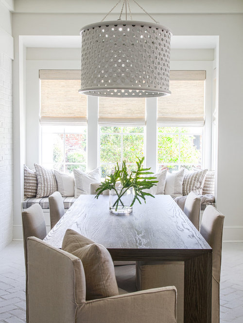 Amazing Inspiration For A Beach Style Brick Floor And White Floor Dining Room  Remodel In Jacksonville With