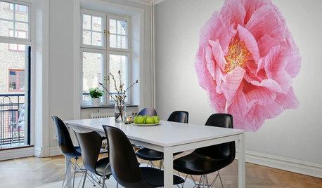 最新トレンド:特大の花を壁に咲かせたインテリア