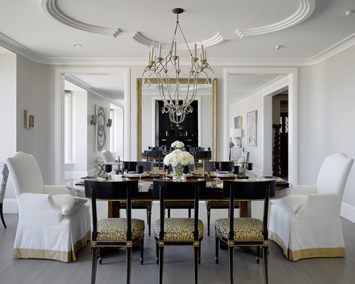 Ceiling Molding Design Ideas ceiling crown molding ideas Example Of A Classic Dining Room Design In San Francisco With Gray Walls