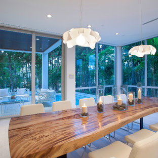 Design ideas for a contemporary dining room in Miami.