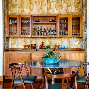Great room - mid-sized 1950s dark wood floor and brown floor great room idea in Portland Maine with metallic walls