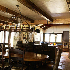 Rustic Dining Room by Green Valley Beam & Truss Co.