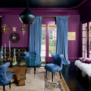 他の地域の大きいエクレクティックスタイルのおしゃれなダイニング (紫の壁) の写真