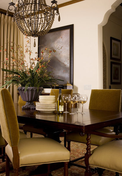 Mediterranean Dining Room by Anne Rue Interiors