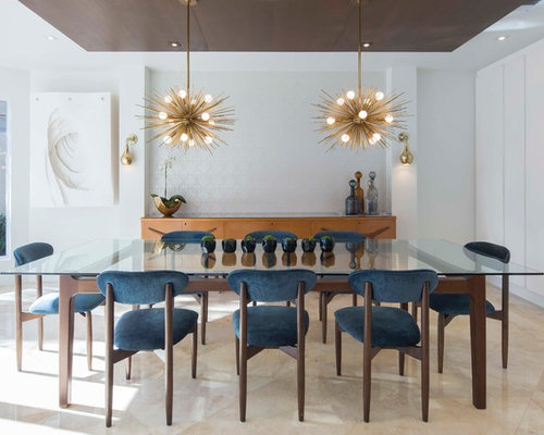 Incroyable Dining Room   Contemporary Beige Floor Dining Room Idea In Miami With White  Walls