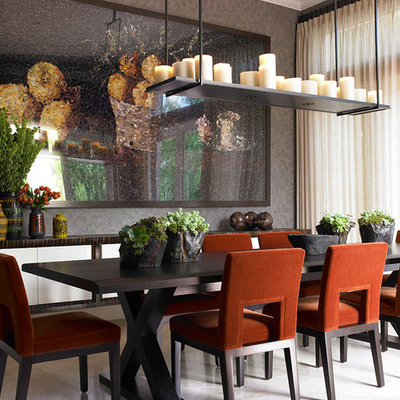 Large trendy porcelain tile enclosed dining room photo in Miami with gray walls and no fireplace