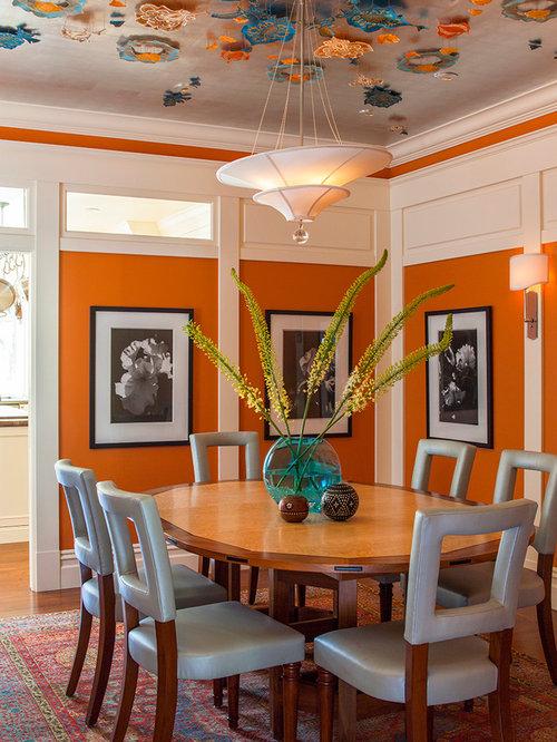 Orange Dining Room | Houzz