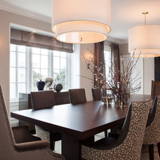 Transitional Dining Room by Rebecca Loewke Interiors