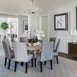 Dining Room   Transitional Dark Wood Floor And Brown Floor Dining Room Idea  In Los Angeles