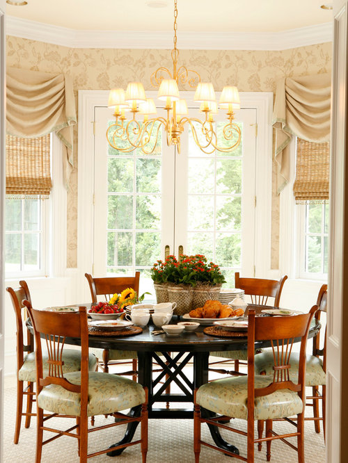 Mid Sized Traditional Medium Tone Wood Floor Dining Room Idea In New York  With Beige