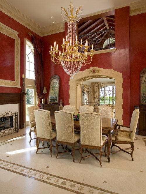 Luxury dining room design ideas renovations photos with for Dining room decorating ideas red walls