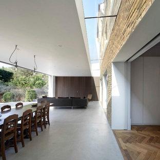 Immagine di una sala da pranzo minimalista con pavimento in cemento