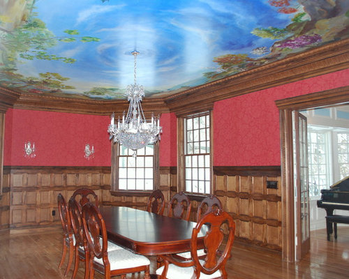 Dining room design ideas renovations photos with a for Dining room ideas with red walls