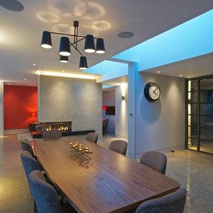 Ispirazione per una grande sala da pranzo aperta verso il soggiorno contemporanea con pareti grigie, pavimento in marmo, camino bifacciale e cornice del camino in cemento