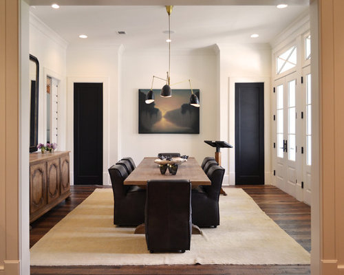 Transitional Dark Wood Floor And Brown Enclosed Dining Room Idea In New Orleans With White