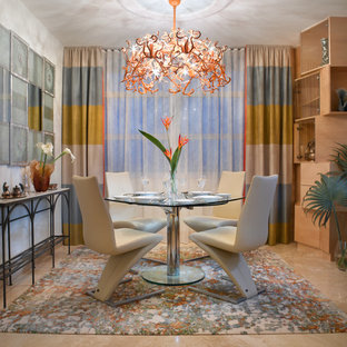 Trendy dining room photo in Miami with white walls