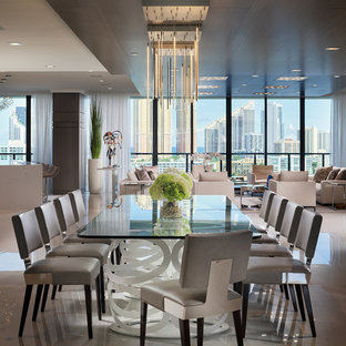 Example Of A Trendy White Floor Great Room Design In Miami