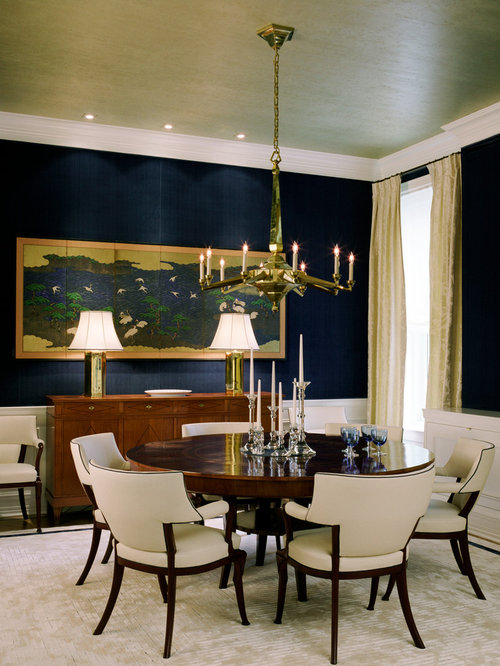 Traditional Dining Room Idea In New York With Blue Walls