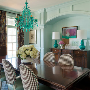 Inspiration for a large eclectic carpeted and blue floor enclosed dining room remodel in Little Rock with blue walls