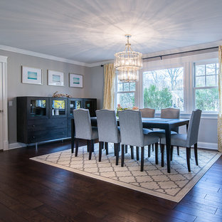 Inspiration for a large transitional dark wood floor kitchen/dining room combo remodel in New York with gray walls