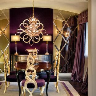Новый формат декора квартиры: кухня-столовая среднего размера в стиле современная классика с фиолетовыми стенами и темным паркетным полом без камина