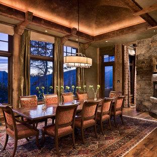 Inspiration för rustika matplatser, med en öppen hörnspis