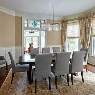 Enclosed dining room - transitional medium tone wood floor enclosed dining room idea in Chicago with beige walls
