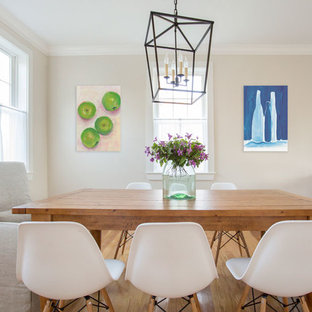 Inspiration for a coastal dining room remodel in Boston