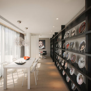 This Is An Example Of A Medium Sized Contemporary Dining Room In London  With Beige Walls